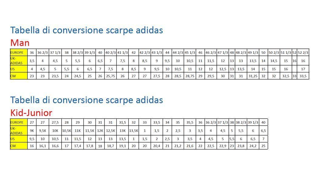 tabella taglie scarpe adidas junior
